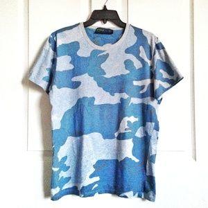 Etro Men's Blue Camouflage T-Shirt Size M